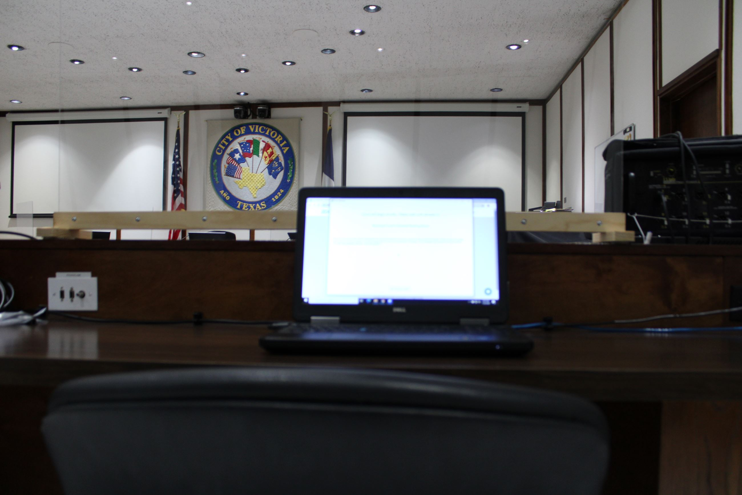 Laptop on counter in Municipal Court courtroom