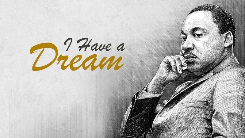 Black-and-white illustration of Martin Luther King Jr. with cursive text: I have a dream.