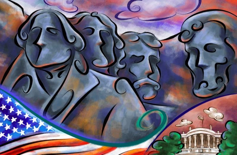 Impressionistic illustration of Mount Rushmore with a U.S. flag and the White House