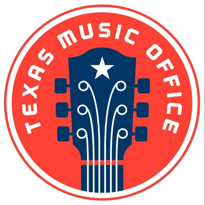 The Texas Music Office logo, a blue guitar on a red circular background