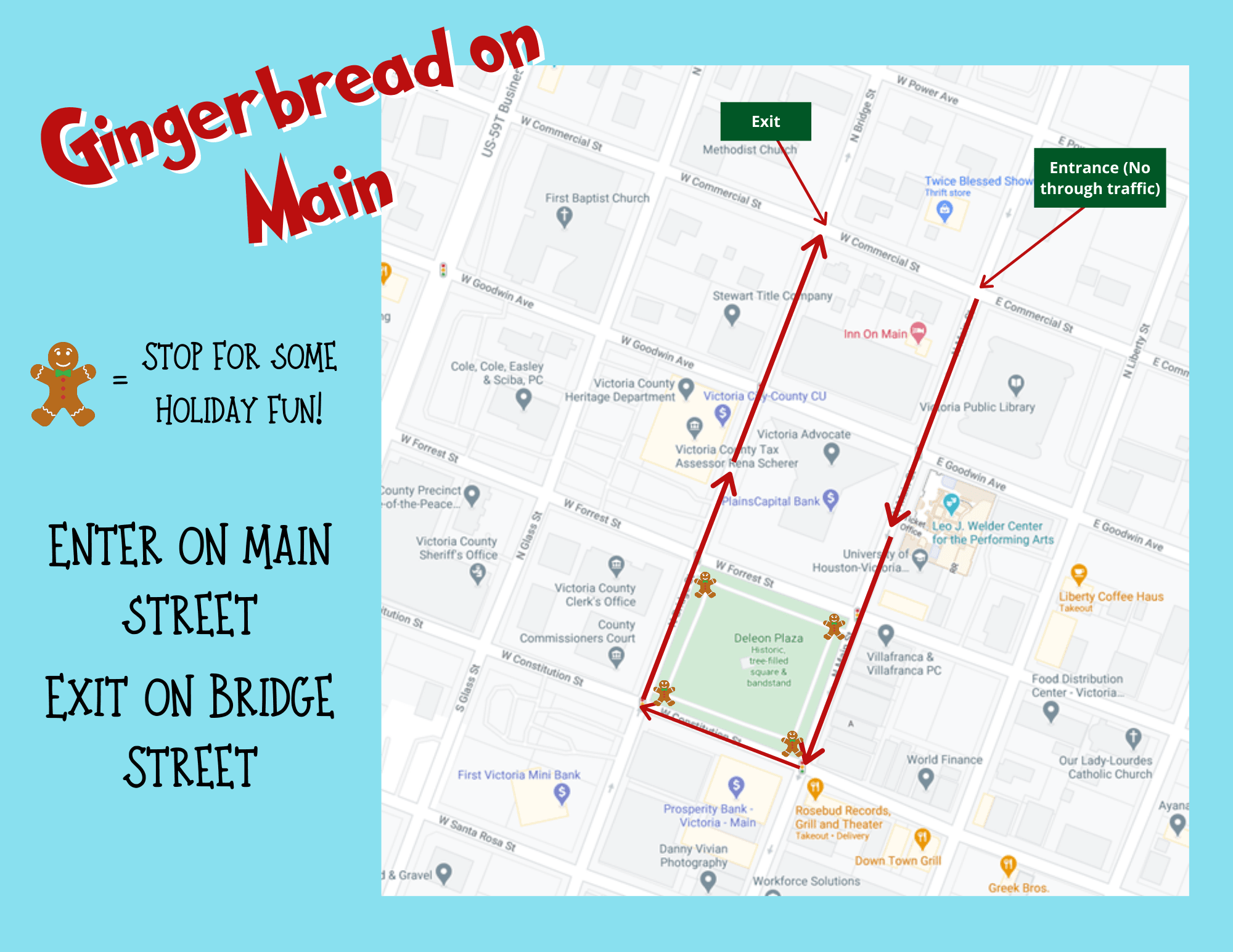 Map showing route going down Main Street from Commercial and circling DeLeon Plaza